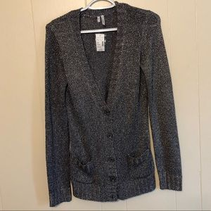 NWT Maurices Silver Metallic Button Cardigan